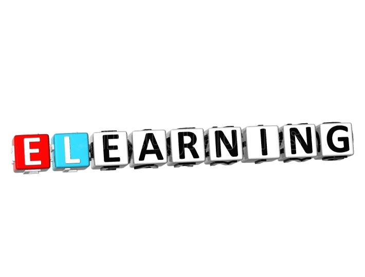 3D Word E Learning on white background