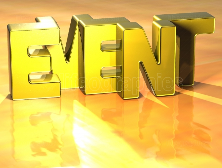 3D Word Event on yellow background