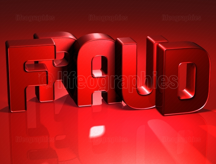 3D Word Fraud on red background