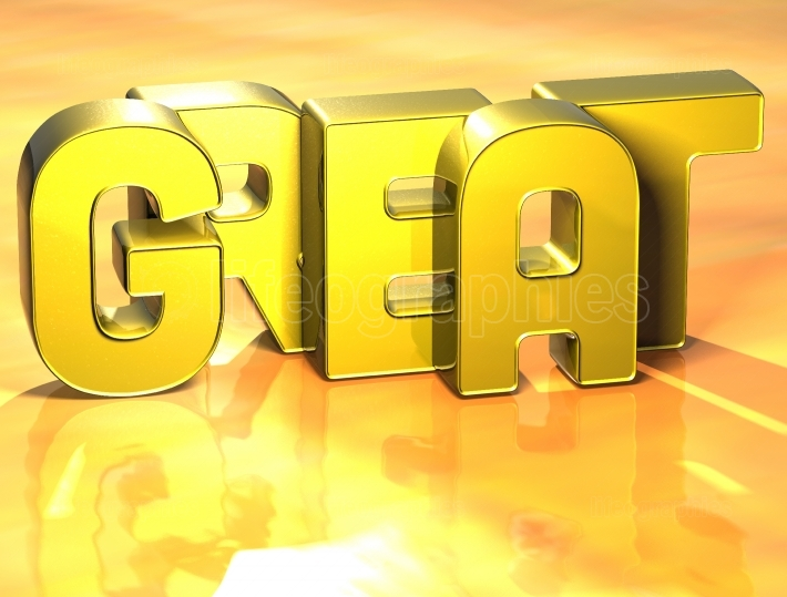 3D Word Great on yellow background