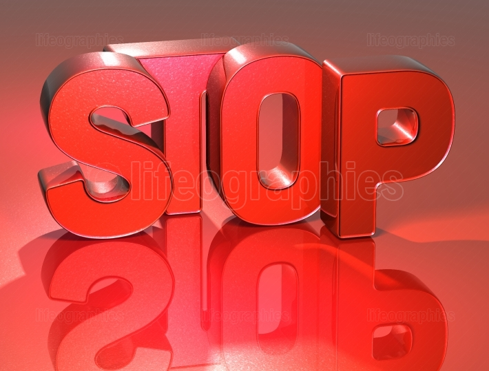 3D Word Stop on red background