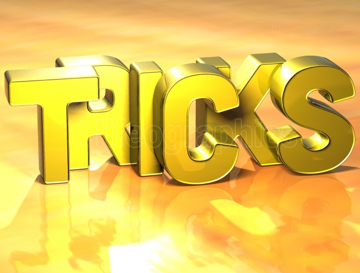 3D Word Tricks on yellow background