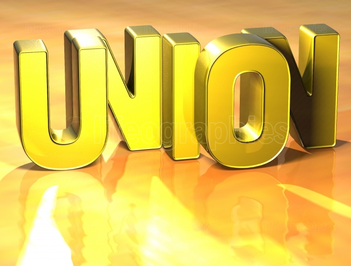 3D Word Union on yellow background