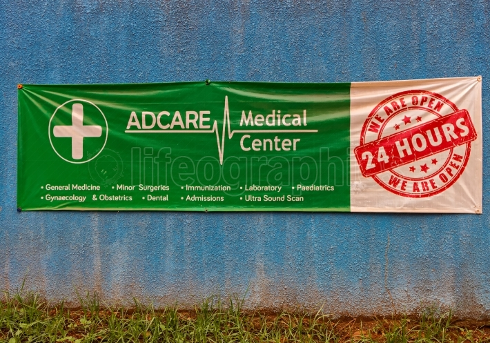 A banner on the wall of an African clinic