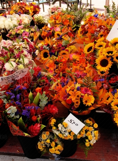 A colorful flower stall