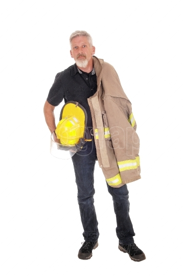 A firefighter with jacket standing from front
