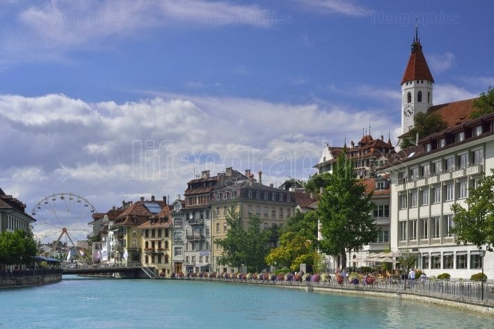 Aare river crossing center of thun city from switzerland