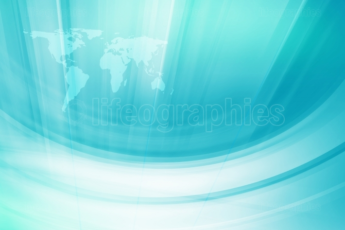 Abstract  blue theme background whit white curves and world map