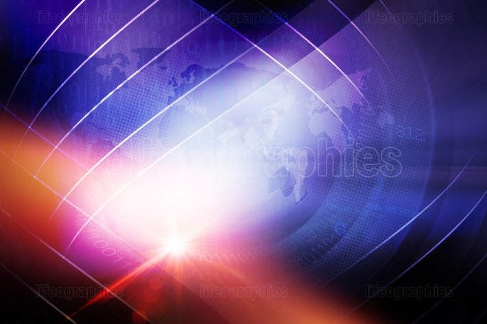 Abstract digital world news background with lens effect concept