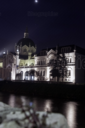 Academy of fine arts in sarajevo at night