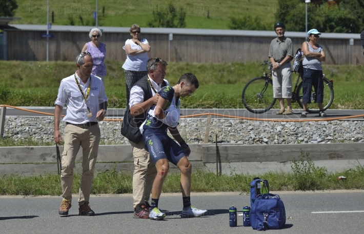 Accident at the second day of tour de france 2016 route stage 17: bern swi – finhaut emosson (swi)