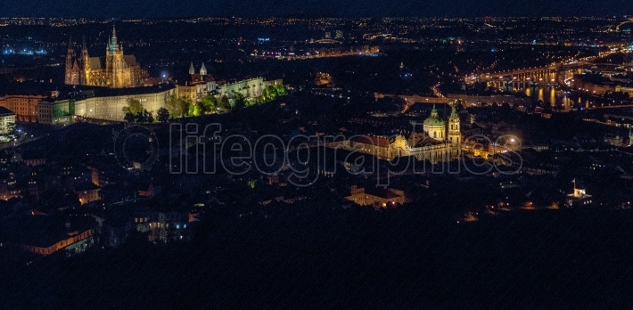 Aerial view of prague by night