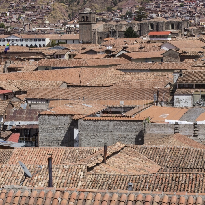 Aerial view of the main square in the capital of incas, cusco, p