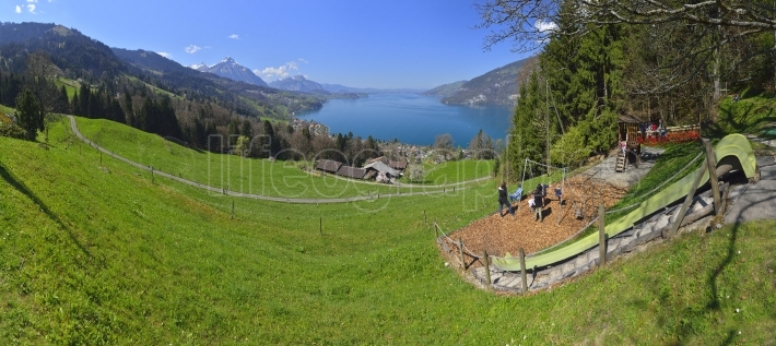 Aeschiried landscape with Thunnersee (Thun lake)