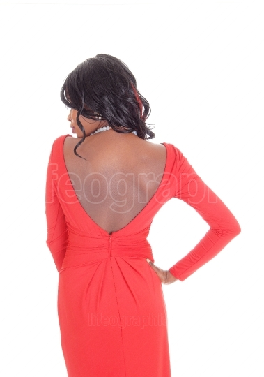 African American woman red dress from back.