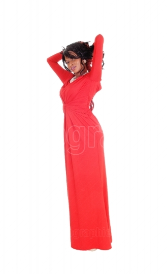 African American woman red long dress.