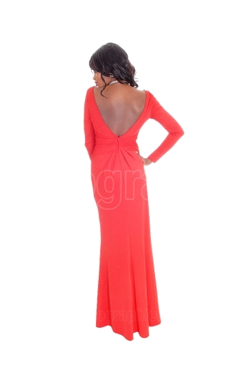 African American woman red long dress from back.