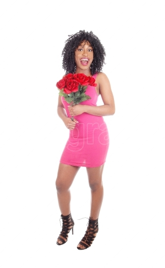 African american woman with roses.
