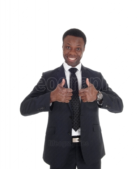 African business man with thump up sign