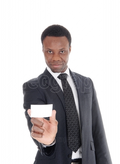 African businessman showing businescard