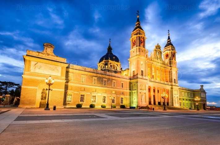 Almudena Cathedral twilight , Madrid in Spain