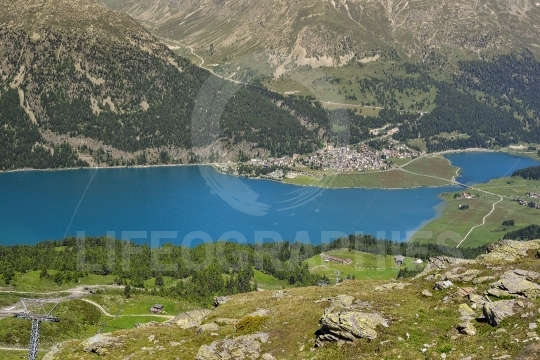 Alps in Switzerland and Silvaplanasee near St. Moritz