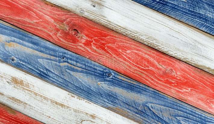 Angled faded boards painted in USA national colors