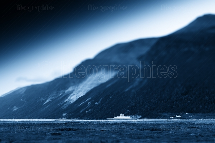 Arctic Norway ship postcard background