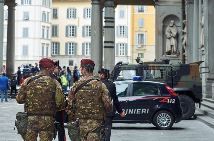 Armed military in the historic center in Florence