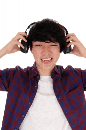 Asian man listen to music