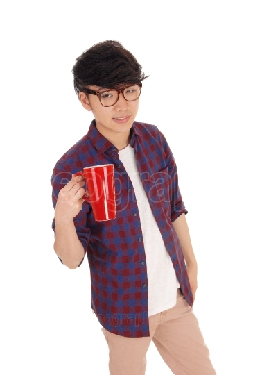 Asian man with coffee tee