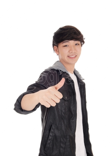 Asian man with thump up sign.