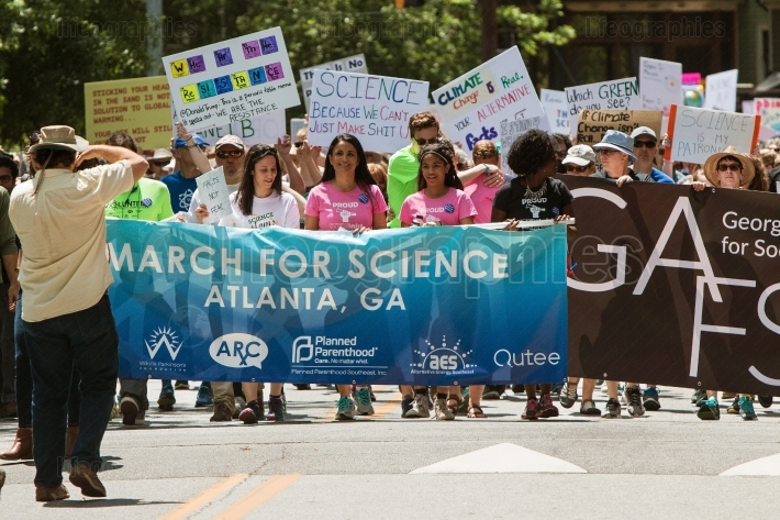 Atlanta March For Science Begins As People Que Behind Banner