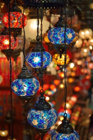 Authentic Turkish Lamps in souvenirs shop in Istanbul