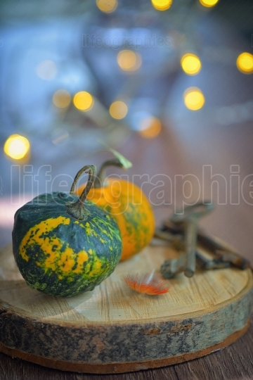 Autumn decoration with small pumpkins