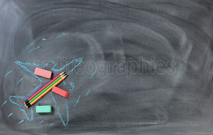 Back to school with flying airplane drawing and supplies on chal