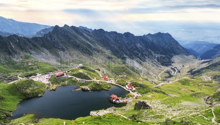 Balea Lake, seen from above. Glacial lake, on Transfagarasan hig
