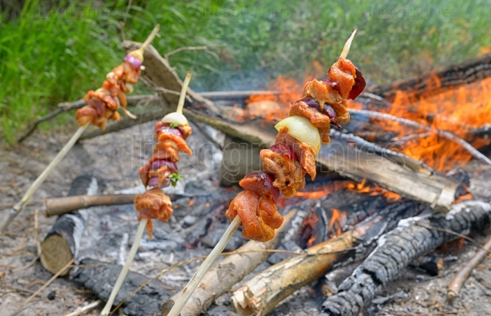 Barbecue sticks above the campfire