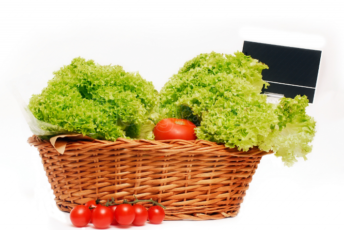 Basket with lettuce and tomatoes