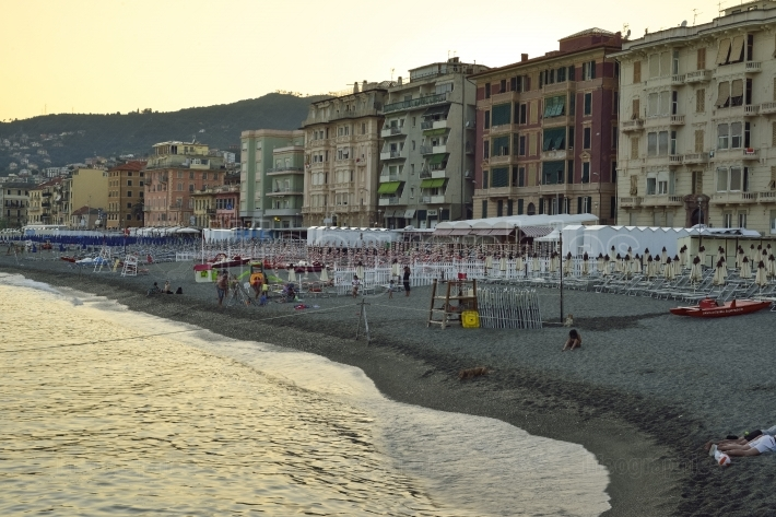 Beach from Varazze at sunset time