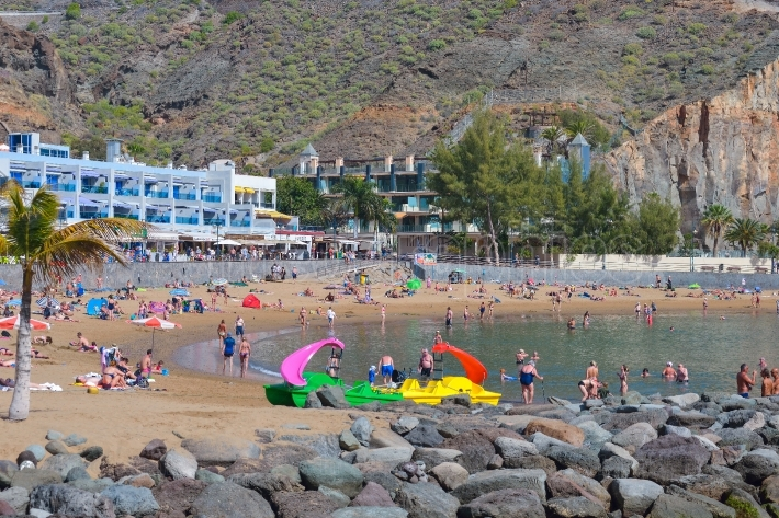 Beach of Puerto de Mogan in Gran Canaria Spain