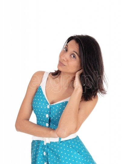 Beautiful Hispanic woman in blue dress