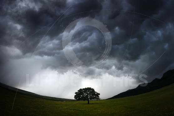 Beautiful landscape on stormy weather