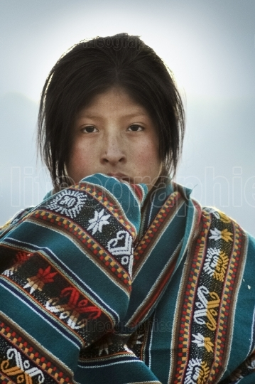 Beautiful native quechua girl from chinchero village