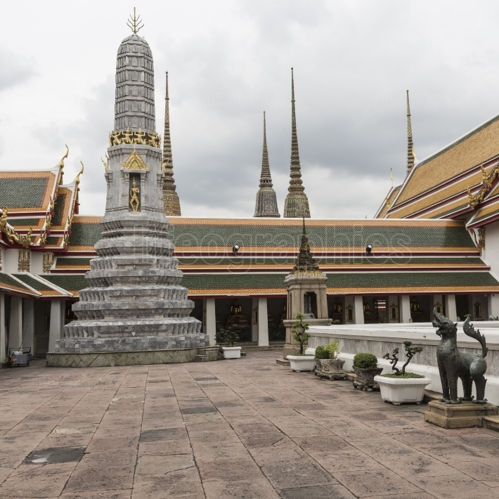 Beautiful wat pho temple in bangkok thailand