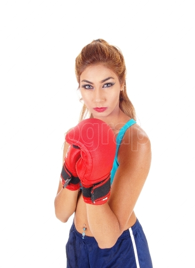 Beautiful woman boxing.
