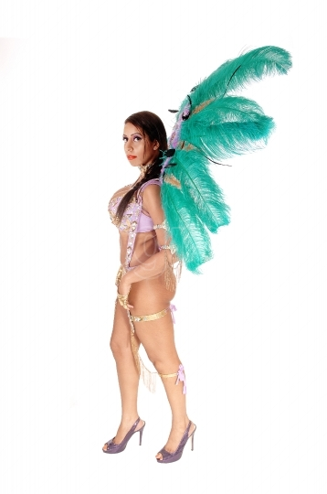 Beautiful woman in a colorful carnival outfit standing