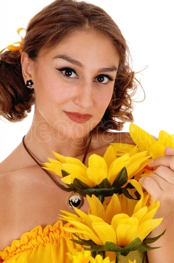 Beautiful woman with sunflowers.