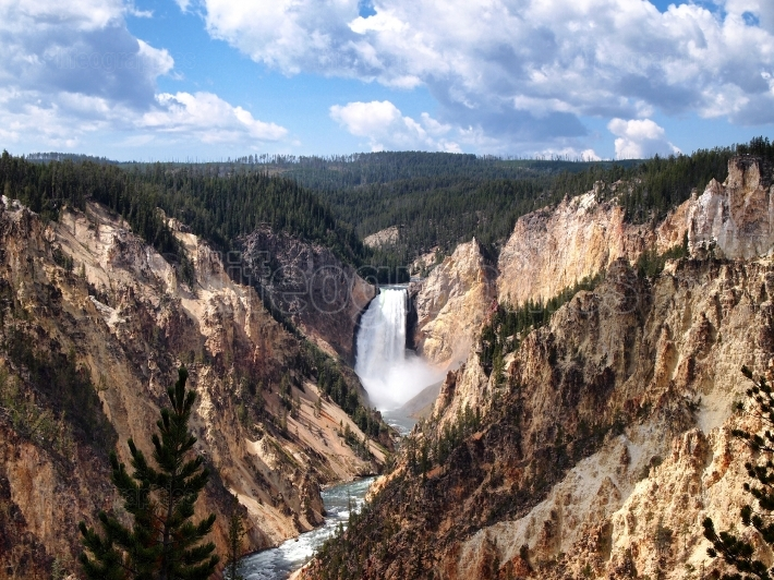 Beautiful Yellowstone National Park Canyon falls with blue skies