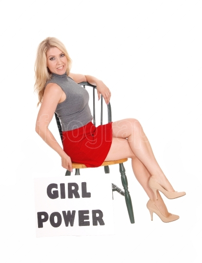 "Beautify woman with sign ""girl power""."